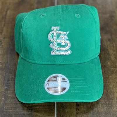 Green New Era Hat W/ Clear Crystal