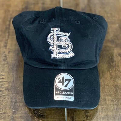 Blk. '47 Hat W/ Clear Crystal