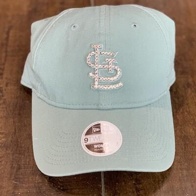 Teal New Era Hat W/ Clear Crystal