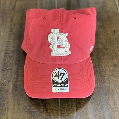 Vtg. Red  '47 Hat W/ Clear Crystal