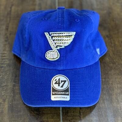 Blue '47 Hat W/ Clear Crystal