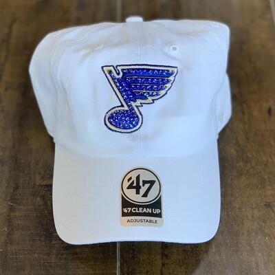 White '47 Hat W/ Blue Crystal