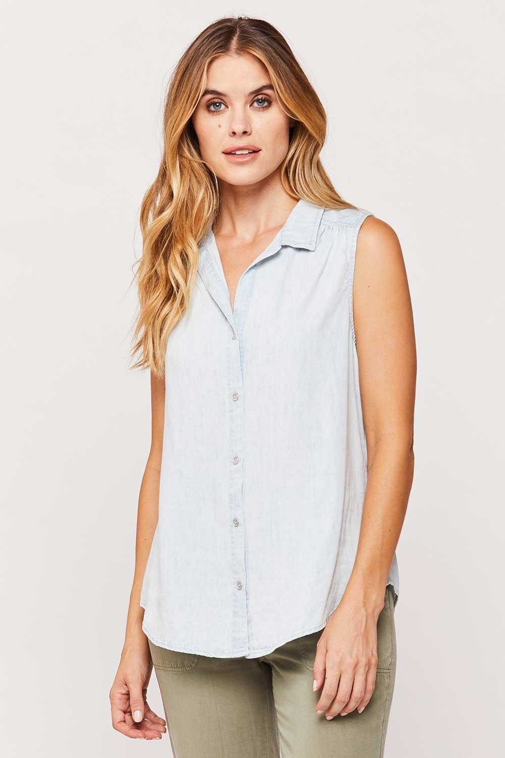 Sleeveless Chambray Button-Down