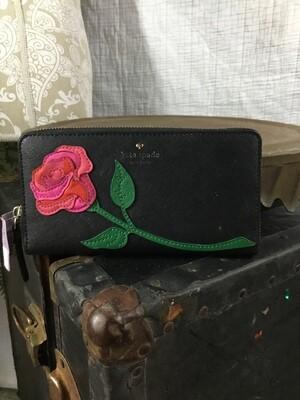 827 blk kate spade wallet w/red/pink flower 050420