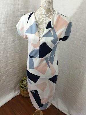 524 white blue pink design dress medium short sleeve womens 050520