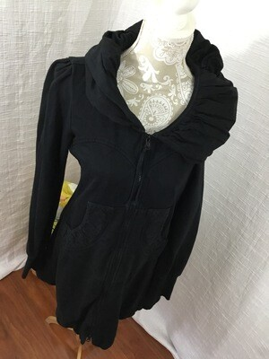 358 black prairie underground long cloak hoodie classic (french terry) black womens size large 080720