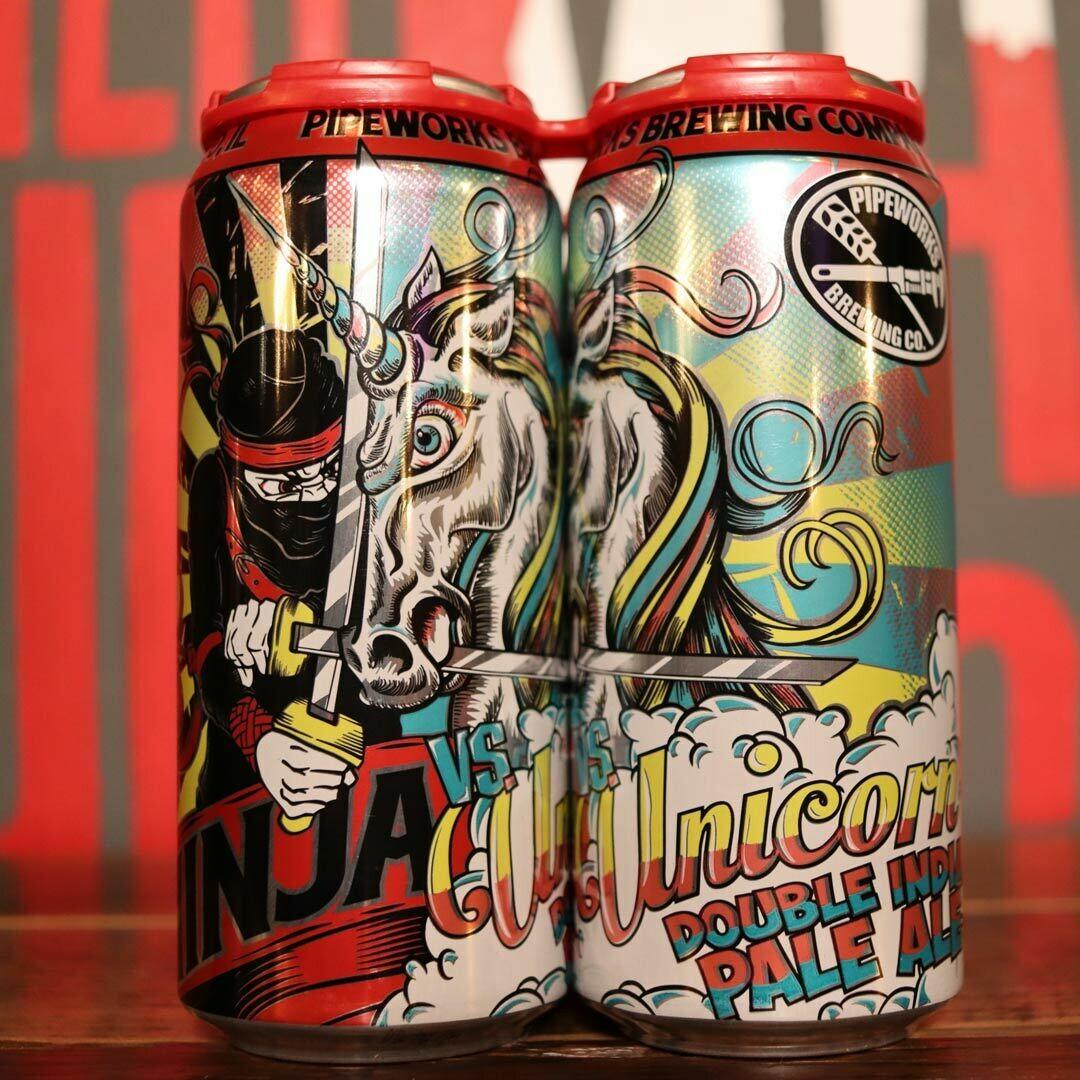 Pipeworks Ninja VS Unicorn DIPA 16 FL. OZ. 4PK Cans