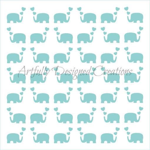 AD Elephant Hearts Stencil