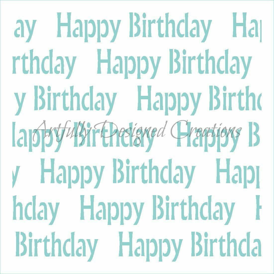 AD Happy Birthday Stencil