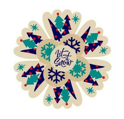 Winter Trees Snowflake Frozen Platter (2 piece)