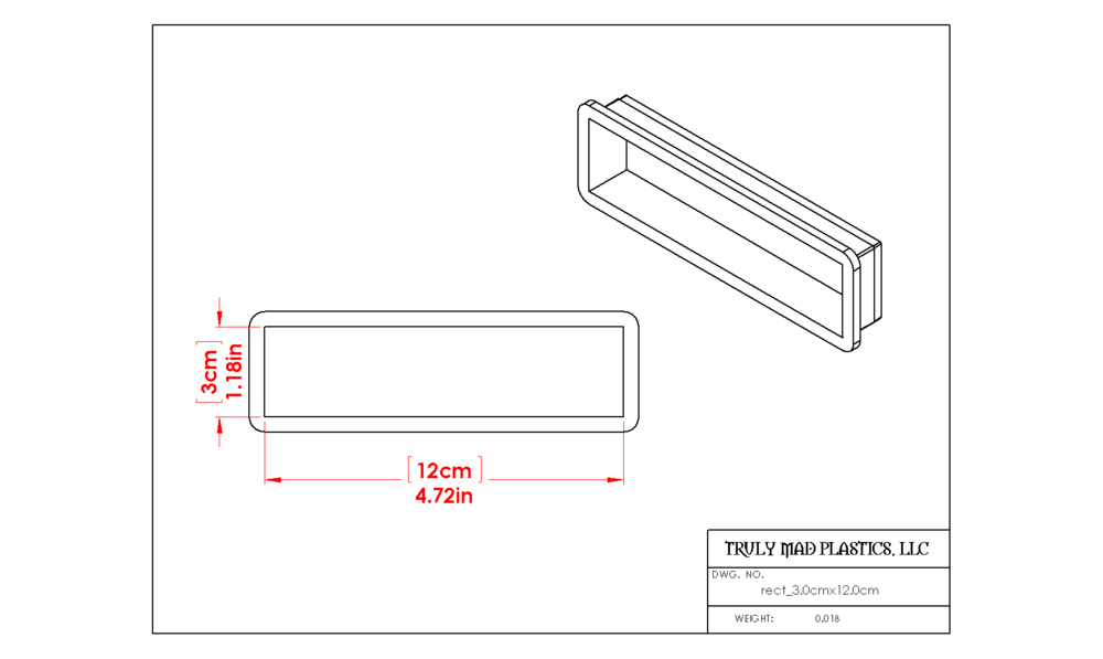 Rectangle 3.0cm x 12.0cm