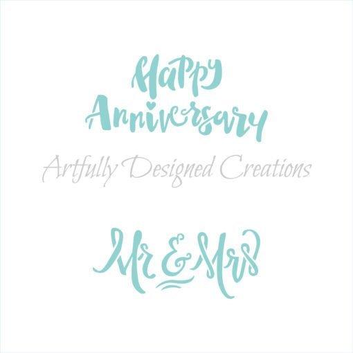 AD Happy Anniversary/Mr & Mrs Stencil