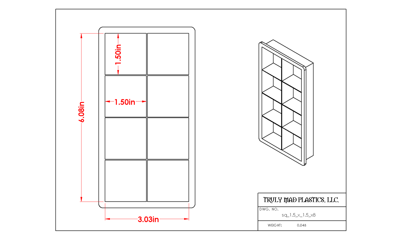 "Square 1.5"" (Cuts 8)"