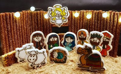 Manger Set 05 (12 Cutter Set, WM 01, 02, 03, Shepherd, Joseph, Mary, Baby Jesus, Sheep, Camel, Donkey, Angel, Star)