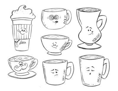 Drawn Coffee Set (7 cutters)