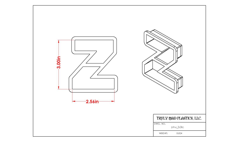 """Helvetica """"z"""" lower case 3.0"""""""