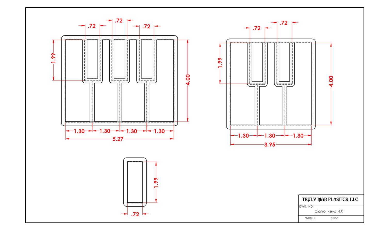 Piano Keys (For cutting Fondant)