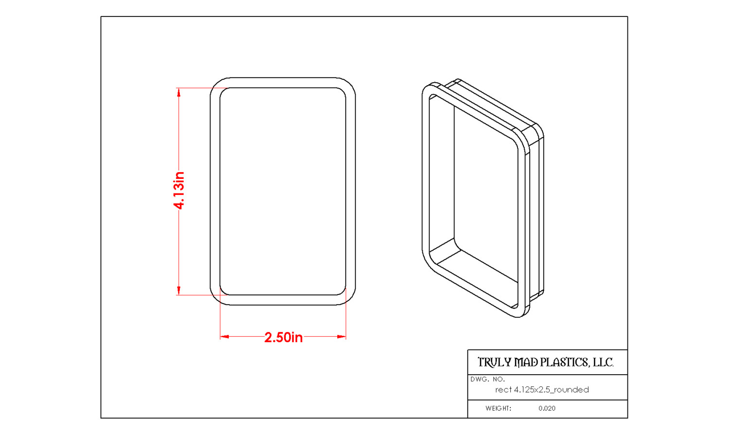 """Rectangle 4.125"""" x 2.50"""" Rounded"""