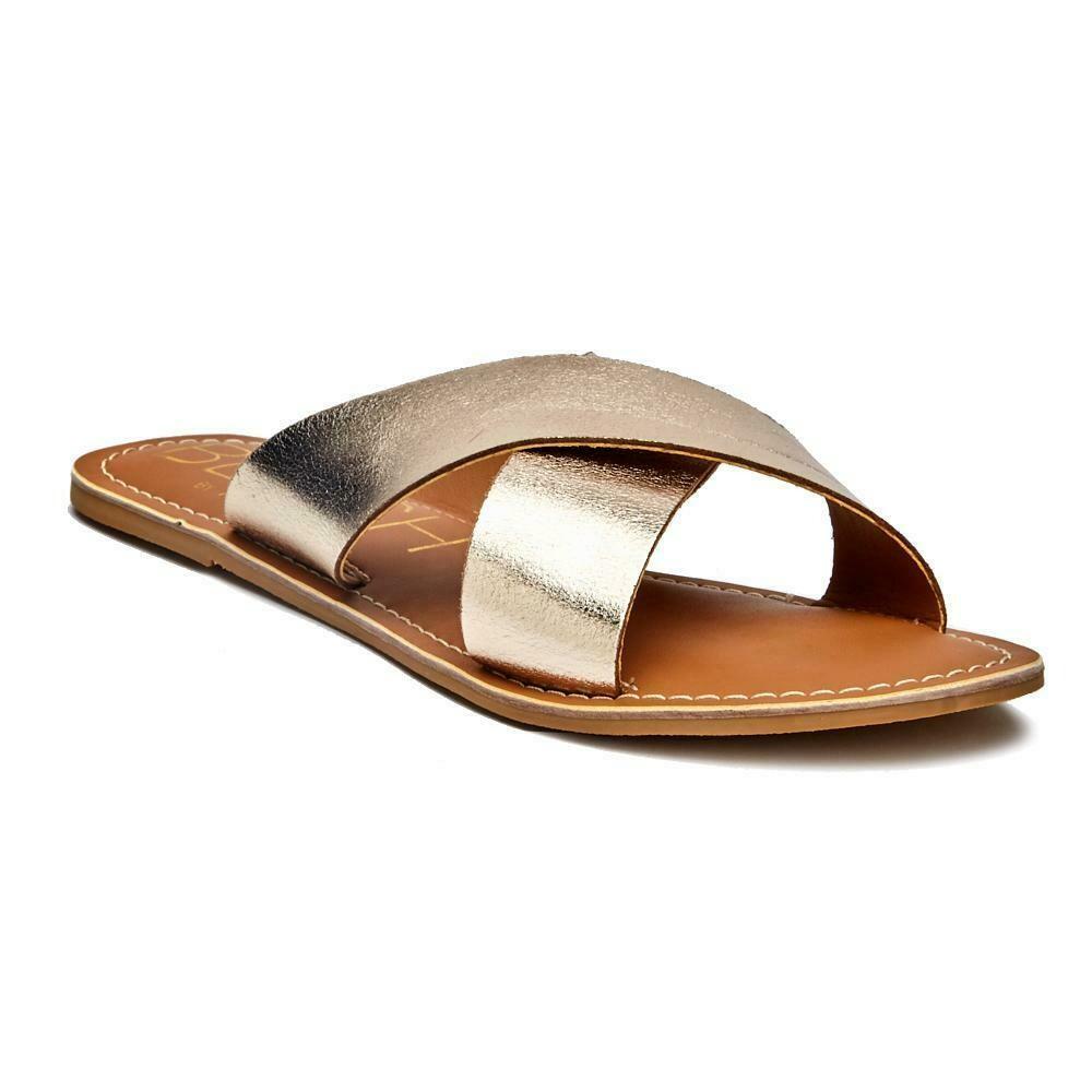 Beach Cabana Gold/Leather Sandal
