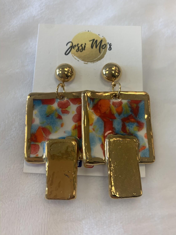 Jessi Mo's Ceramic Earrings- Kaleidoscope Glaze- 2 Options