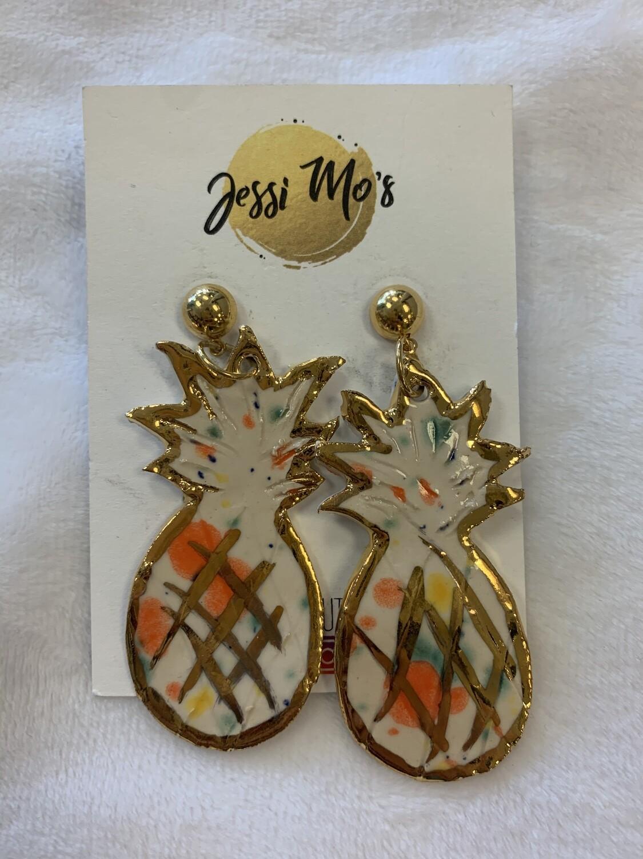 Jessi Mo's Ceramic Earrings- Fruity Freckles Glaze- 2 Options
