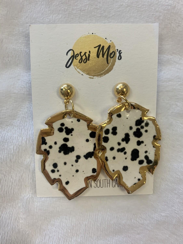 Jessi Mo's Ceramic Earrings- Ink Spot Glaze- 3 Options