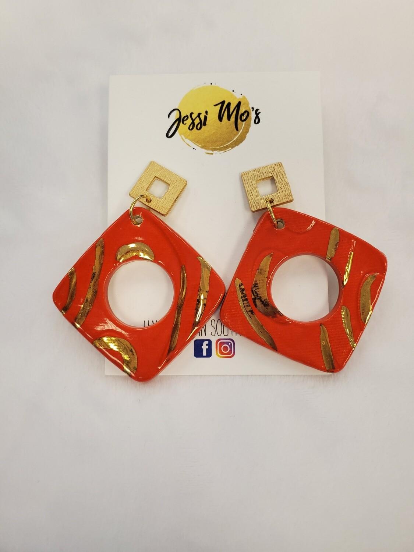 Jessi Mo's Ceramic Earrings- Candy Apple Glaze