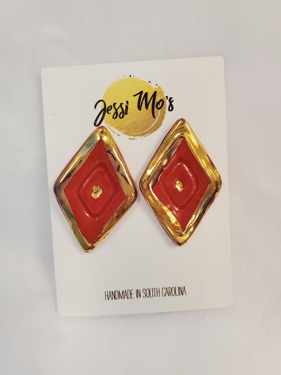 Jessi Mo's Ceramic Earrings- Hot Tamale Glaze- 4 Options