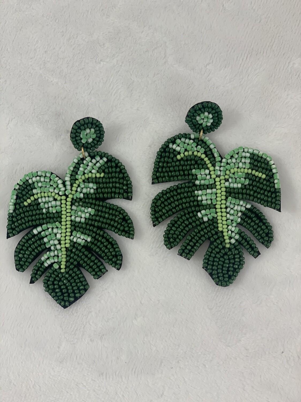 Green Beaded Palm Leaf ER
