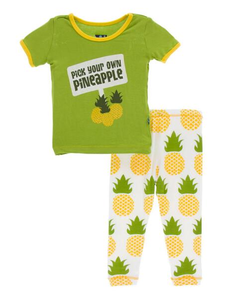 Kickee Pants S/S Pajamas- Natural Pineapple 4T
