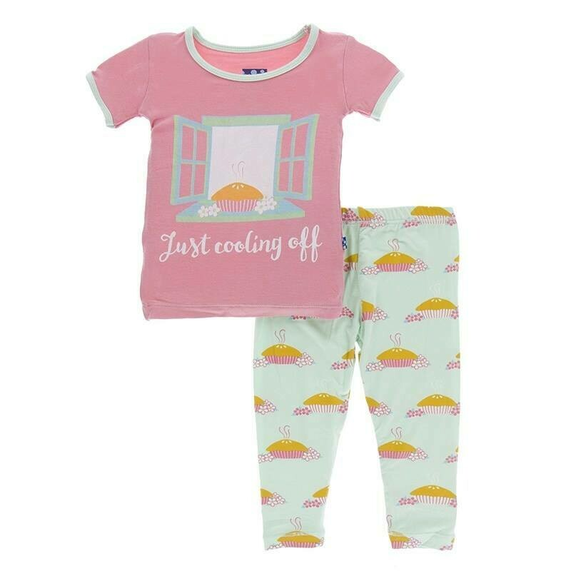 Kickee Pants S/S Pajamas- Apple Pie Blossom 4T