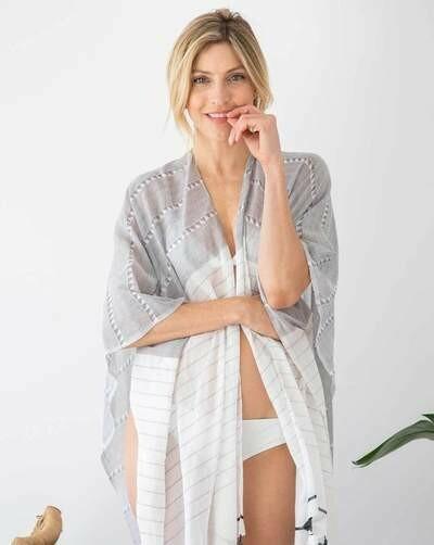 Gray/White Cotton Tassel Wrap