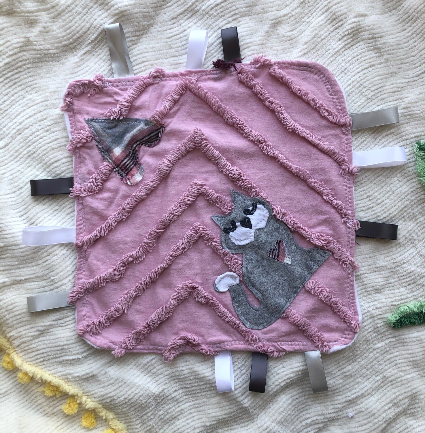 Moxie & Zab - Tag-a-Long Blanket ~ Grey Kitty on Vintage Pink Chenille