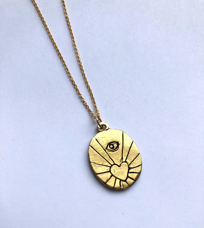 Tamara Steinborn ~ AMORA ~ Evil Eye + Heart Necklace in Bronze