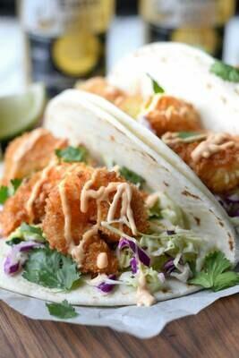 Crispy Prawn Tacos (2) (lunch 12-3pm)