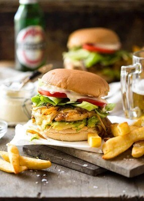 Peri-Peri Chicken Burger & Chips  ( lunch 12-3pm)
