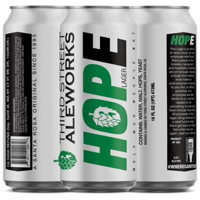 HOPE Lager Preorder (available 4/15)- 100% of Proceeds go to Employee Relief Fund