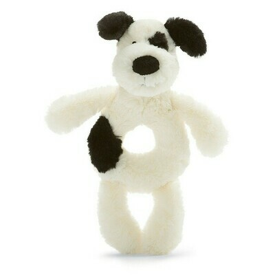 JC Bashful Black & Cream Puppy Ring Rattle