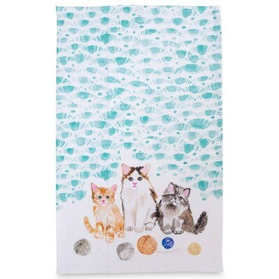Watercolor Kitten Tea Towel