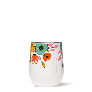 Corkcicle Stemless wine glass - white lively floral
