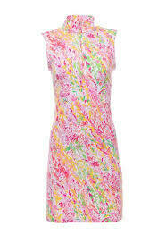 Ibkul Cat Cay Pink Mock Dress