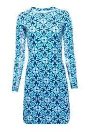 Ibkul Moroccan Tile Blue Crew Dress