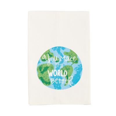 Teacher watercolor towel - world