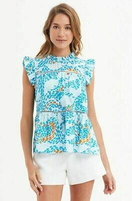 Marie Oliver Tia Tiered Blouse - Dizzy Blue