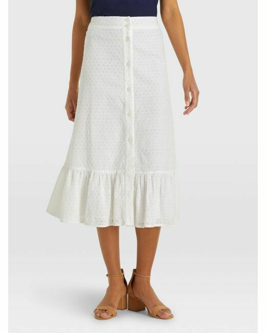 Draper James Eyelet Button Front Skirt White - L