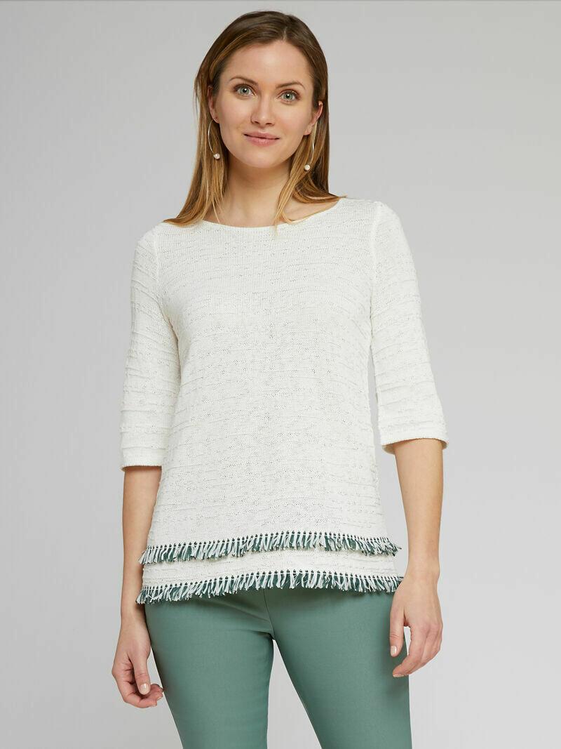 Nic + Zoe Paper white knit fringe top - L