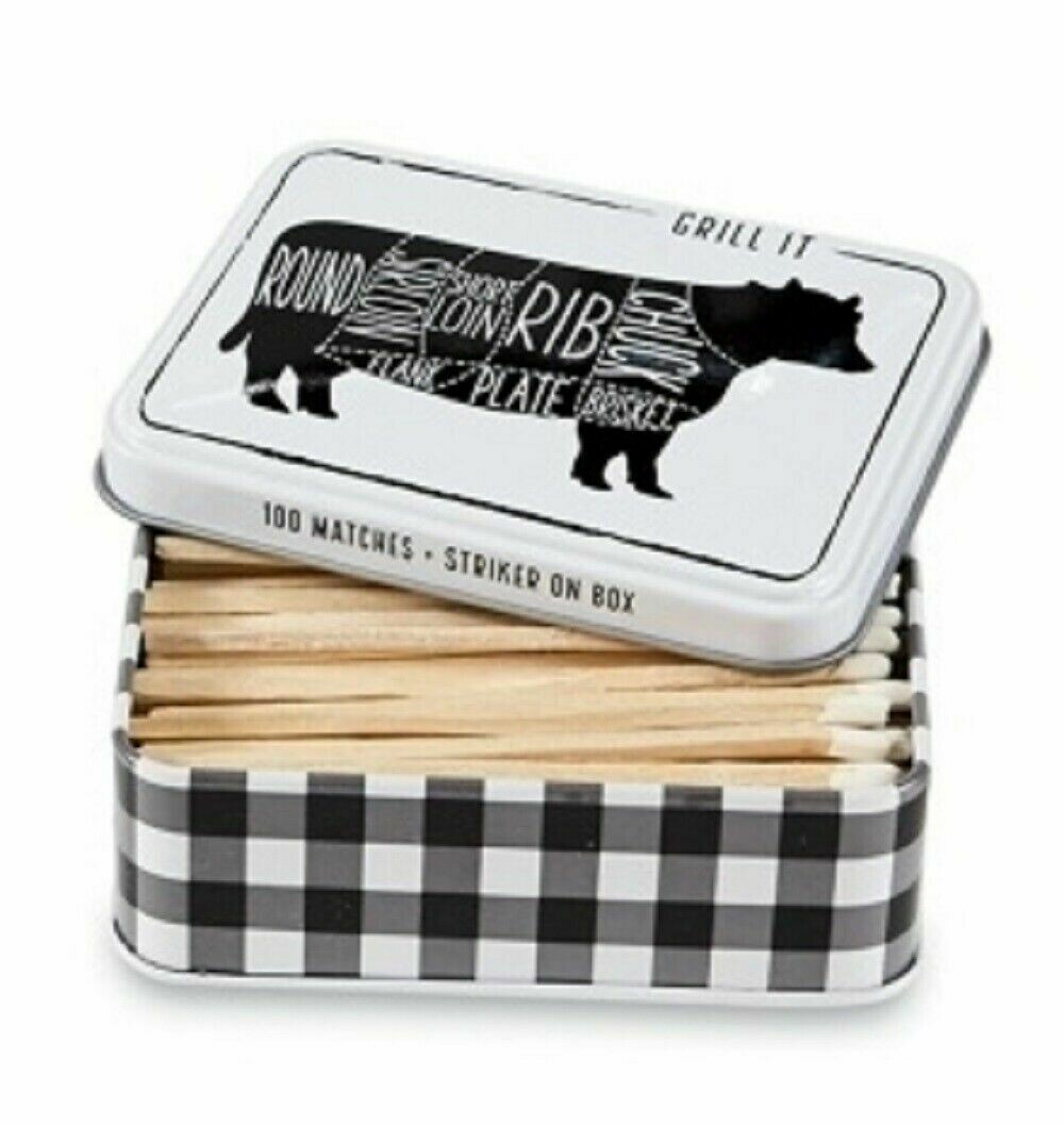 Tin Matchbox set - cow