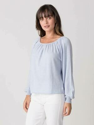 Margaret O'Leary Gathered Raglan Pullover Frost Blue