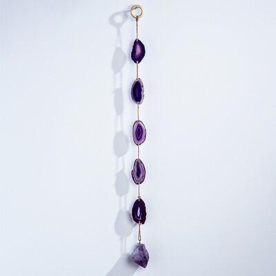 Purple agate & amethyst wall hanging