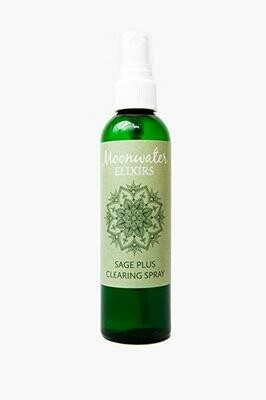 Moonwater Elixirs Sage Plus Clearing Spray, Smudge Spray, Crystal Elixir, 8 oz